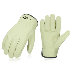 Vgo Men s Pigskin Leather Work Gloves Drivers Washable Size X large Light Cyan