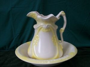 Large Antique Pitcher Wash Basin Bowl Set Cream And Yellow