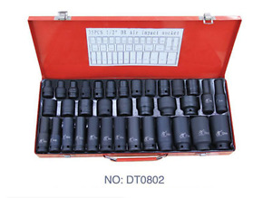 35pcs 1 2 Drive Deep Air Impact Sockets Set Metric Garage Workshop Tools 8 32mm
