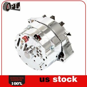 New Chrome Alternator Gm 10si Applications Chevy 327 350 396 427 454 1 Or 3 Wire