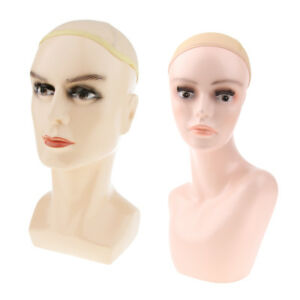 2x Durable Plastic Male Female Mannequin Head Hat Wig Display With Net Cap