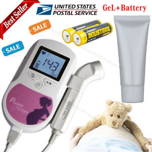 Ultrasound Fetal Doppler prenatal Heart Baby Sound Monitor 3mhz gel battery usa