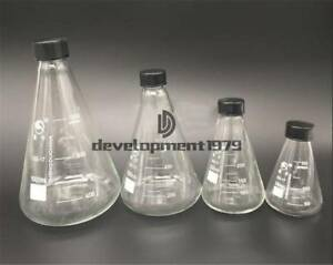 1pc New 50 3000ml Conical Erlenmeyer Narrow Mouth Screw Cap Flask Lab Glassware