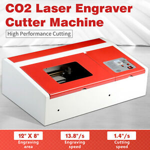 40w Usb 12 x8 Co2 Laser Engraver Cutter Engraving Cutting Machine Red