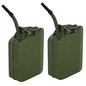 2x Jerry Can 5 Gallon 20l Gas Fuel Steel Tank Emergency Backup Army Military