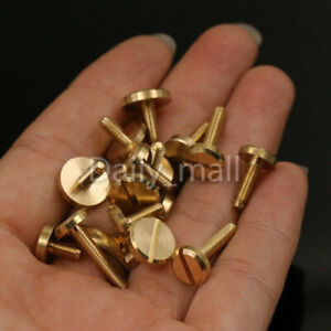 Solid Brass M3 Slotted Screws Flat Head Bolts Leather Craft Belt Screw More Size