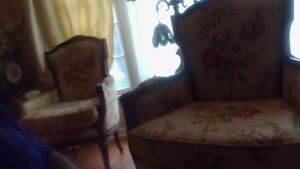 Queen Anne Wing Back Chairs Oak Armchairs A Pair