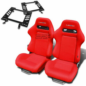 Nrg Type R Racing Seat Red Cloth Silder Rail For 79 98 Ford Mustang Bracket X2