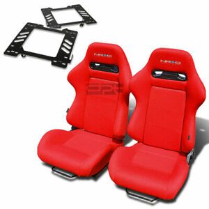 Nrg Type R Racing Seat Red Cloth Silder For 99 04 Ford Mustang Sn 95 Bracket X2