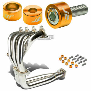 J2 For 88 00 D15 D16 Exhaust Manifold Racing Header Gold Washer Cup Bolts