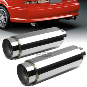 2x 3 inlet With 4 5 chrome Tip silencer Polish 304 Steel Round Exhaust Muffler