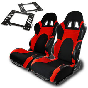 Type 6 Racing Seat Black Red Woven silder for 99 04 Mustang Sn 95 Bracket X2