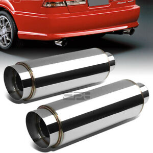 2x 3 inlet 4 5 chrome Slant Tip silencer Polish 304 Steel Round Exhaust Muffler