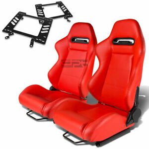 Type r Racing Seat Red Pvc silder rail for 79 98 Ford Mustang Bracket X2