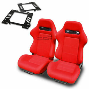 Type r Racing Seat Red Cloth silder rail for 99 04 Mustang Sn 95 Bracket X2