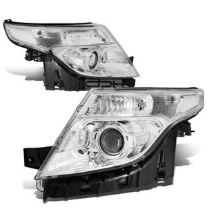 Fit 2011 2015 Ford Explorer Chrome Housing Clear Corner Projector Headlight