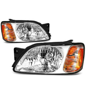 Fit 2000 2004 Subaru Legacy Pair Chrome Housing Amber Corner Headlight Lamp Set
