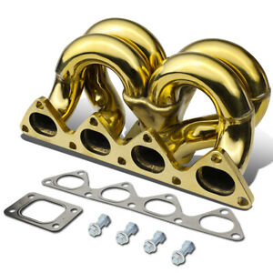 Fit 1988 2000 Honda Civic D15 d16 Engine Gold Ramhorn T3 Flange Turbo Manifold