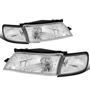 Fit 97 99 Nissan Maxima Pair Chrome Housing Clear Corner Driving Headlight Lamps