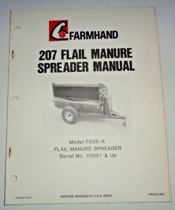 Farmhand 207 Flail Manure Spreader Operators Owners Parts Manual Model F505 a