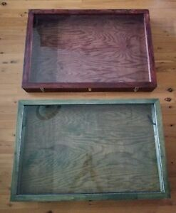 2 Custom built Wood plexiglass Display Cases 36 25 x4 36 X 23 5 X 4 75