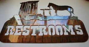 Western Outhouse Restroom Sign No Arrow By Hgmw