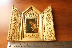 Raised Gold Gilt Gesso Tole Wood Italian Florentine Madonna Triptych Icon