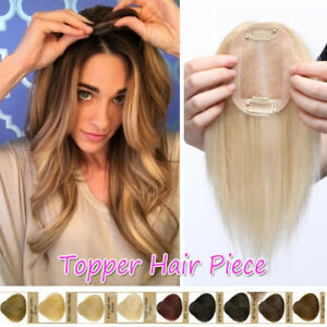 US Sale Women Clip in 100% Remy Human Hair Topper Hairpiece Top One Piece Toupee $34.13