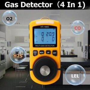4 In 1 Gas Detector Co O2 H2s Oxygen Lel Gas Monitor Testing Analyzer Meter Lots