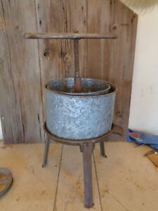 Fruit Cider Lard Wine Press No 1 S P Schriver Co Cincinnati O Tub 8 X 12 1 2