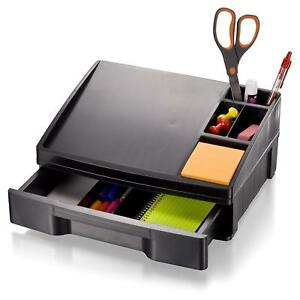Officemateoic Recycled Telephone Stand Organizer With Storage Drawer Black 26093