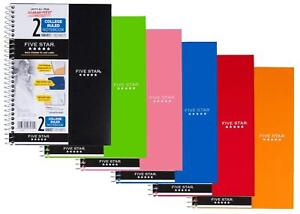 Five Star Spiral Notebook College Ruled 2 Subject 100 Sheets 6 Pack Ass colors