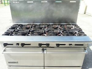 10 Burner Range Stove Natural Gas Commercial 2 Ovens On Wheels Cheap
