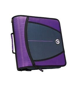 New Case it Xl 3 Ring 3 Inch Zipper Binder With 5 tab File Folder Purple