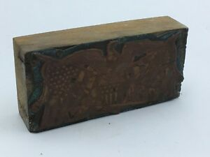 Vtg Eagle Freedom Usa Shield Letterpress Photo Print Block Ormsbee Copper Wood