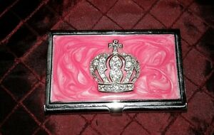 Women Business Card Holder Springfield Pink Marble Metal Crown Rhinestone Case X