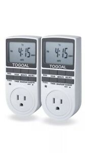 15a 1800w 7 day Programmable Plug in Digital Light Timer Switch 3 prong 2 Pc