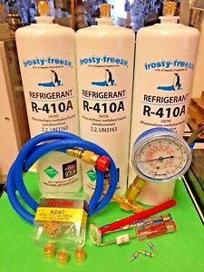 Refrigerant 410 R410 R410a Recharge Kit 3 Three 28 Oz Cans Gauge Hose