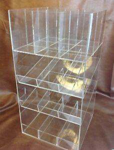 Retail Counter Display Clear Acrylic Lucite 4 Tier Divided Store Accessories