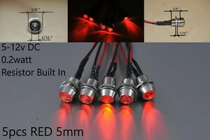12 Volt Panel Indicator Led Lights Red Dash Motorcycle Pilot Signal Bulb 5mm 5pc