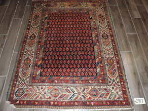 4x6ft Antique Persian Boteh Mission Malayer Wool Rug