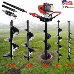 52cc Gas Powered Post Hole Digger W 4 6 8 10 Earth Auger Fence Engine Bits
