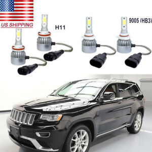 4pc Hid White Led Headlight High Low Beams Kit For Jeep Grand Cherokee 2011 2016