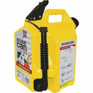 Surecan 5 gallon Yellow Plastic Diesel Fuel Can Free Shipping