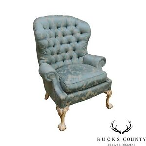 Century Tufted Blue White Ball Claw Wing Chair