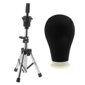 High Quality Polystyrene Head Canvas Mannequin Block Head Black With Stand