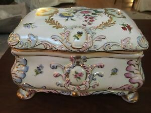 Large Heavy Vintage Rk Crown Dresden Porcelain Box With Flowers And Gold Accents