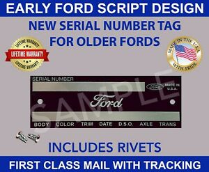Ford Data Tag Car Truck Pickup Vintage Ford Script Design Made In Usa Fits Ford Prefect