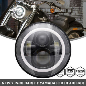 For Harley 7 Motorcycle Black Projector Hid Led Light Bulb Headlight Touring