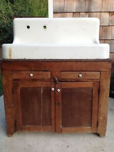 Antique Cast Iron Farmhouse Drain Board High Back Sink With Faucet And Drysink